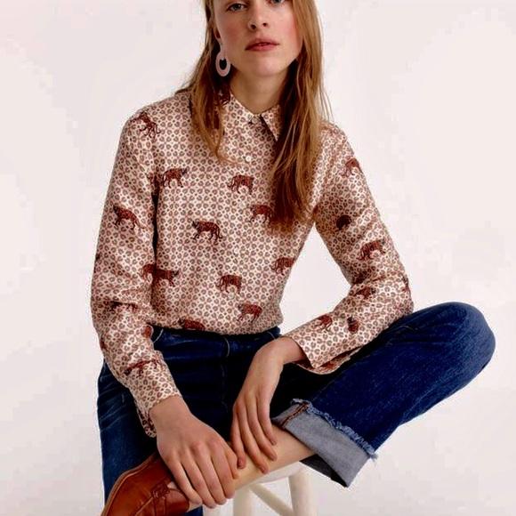 c3aa5e948632c2 J Crew Leopard Print Shirt Silk Blend Size 0 My Posh Picks